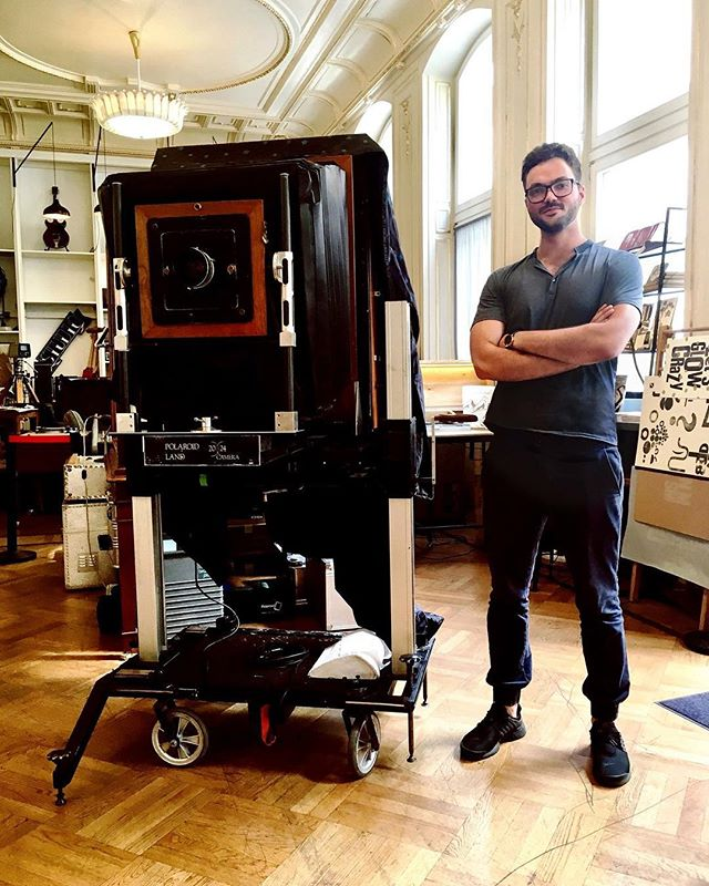 Just a few weeks ago: #5 and its operator @oliverblohmcom still in Vienna at the @supersense, where the legendary Jan Hnizdo handed the camera over to its new future. #20x24studioberlin #20x24  #20x24polaroid #20x24camera #5 #analog #analogphotography #instant #film #filmphotography #oliverblohm #instantfilm #studio #berlin