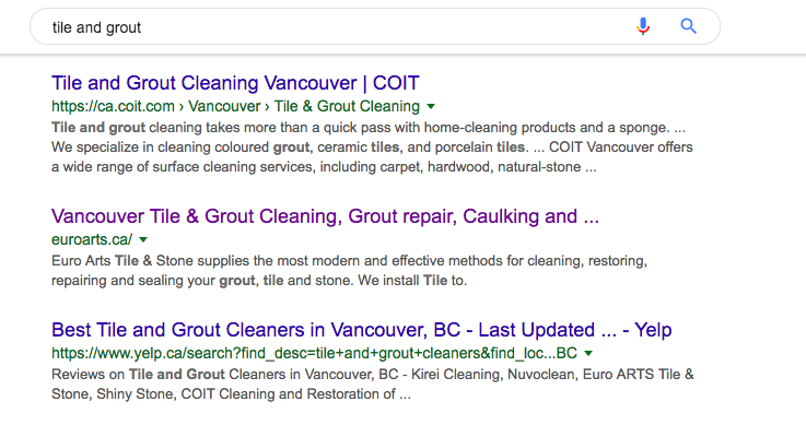 """Above Yelp rankings for """"Tile Cleaning"""" in Vancouver, BC (2nd place) -"""