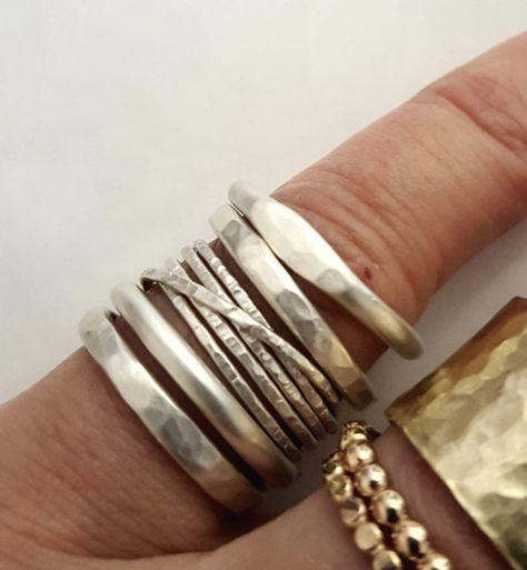 Hammered Stacking Ring Set -