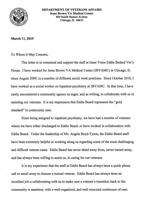 Letter Of Commendation Eddie Beard Vet House Inner Voice