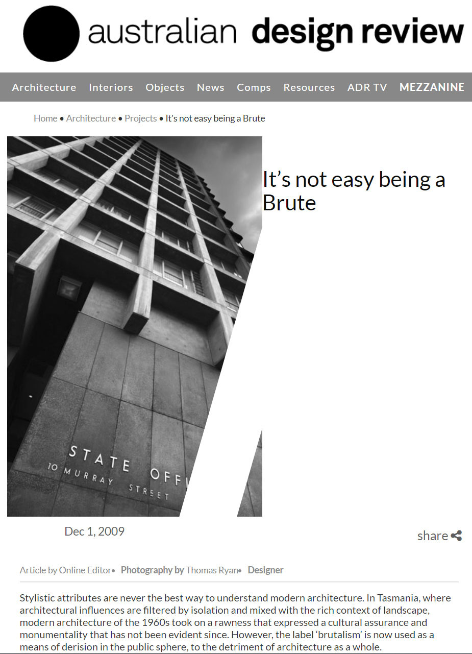 "Australian Design Review, Photography of 10 Murray Street Government Offices in Hobart supporting story ""It's not easy being a Brute"""