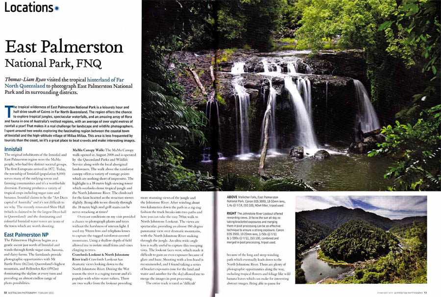 Australian Photography Magazine, Story and photographs of feature story on East Palmerston National Park, Queensland