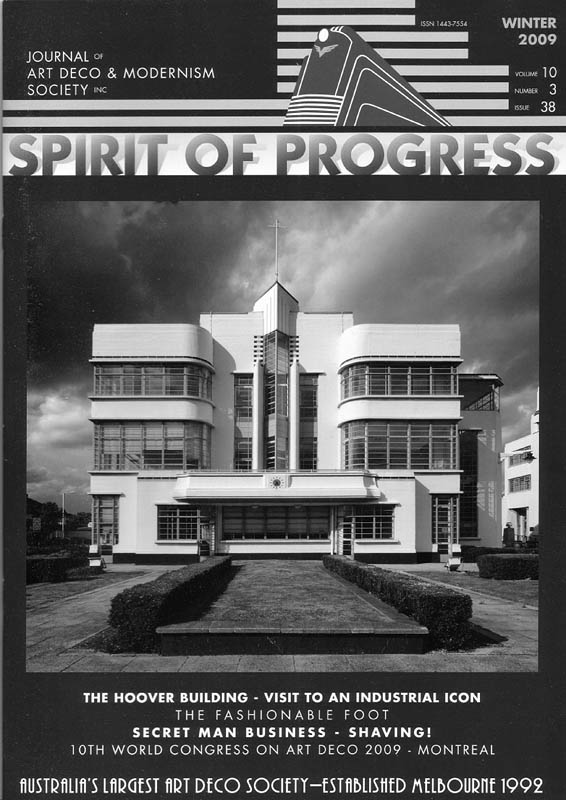 Spirit of Progress Journal, Feature story and cover of my story and photographs about the Art Deco Hoover Building in London