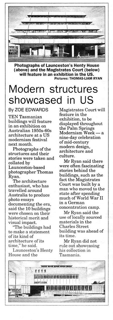 Examiner Newspaper, Feature story about my photographs of Tasmanian Modernism being part of an exhibition in Palm Springs, America