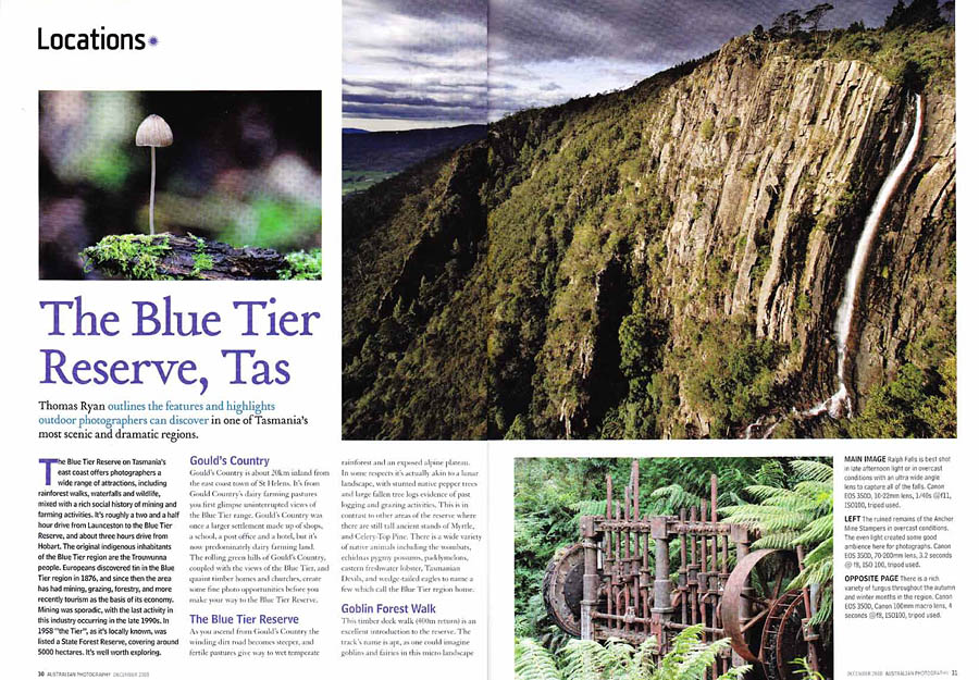 Australian Photography Magazine, The Blue Tier Reserve, Tasmania. Story & photos in national publication.