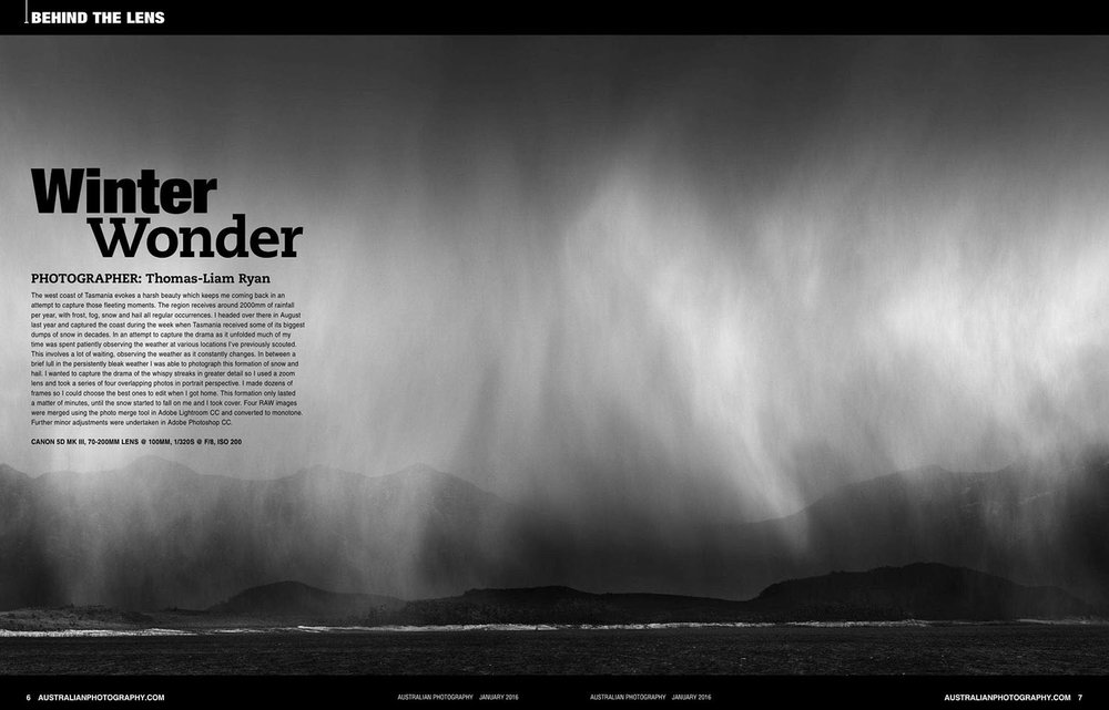 Australian Photography Magazine, Feature photograph for ''Behind the Lens'' in Australian Photography magazine