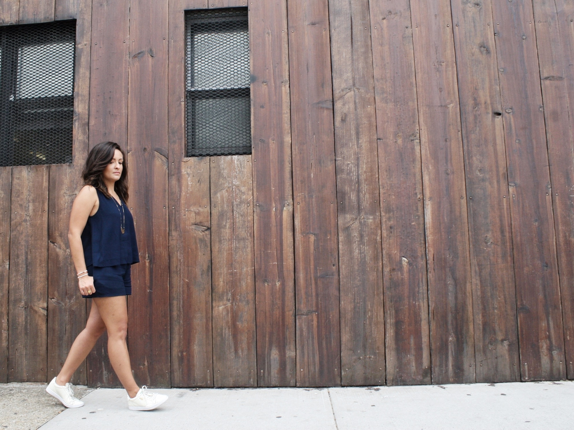 style, fashion blogger, style blogger, personal style, fashion, madewell, everyday madewell, romper, summer style, summer trends, navy romper, navy, puma, white sneakers, minimalist,