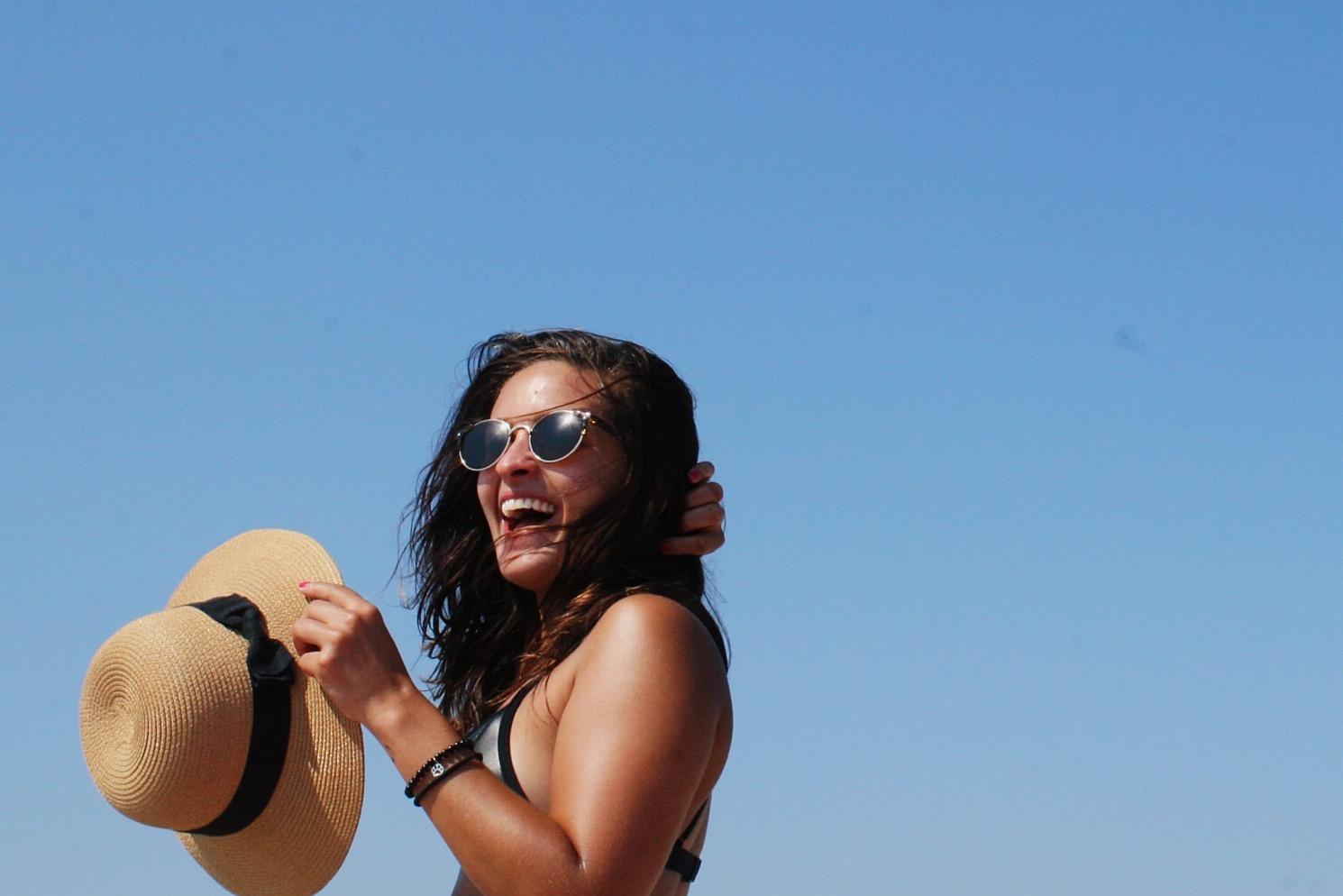 straw hat, blue sky, bikini
