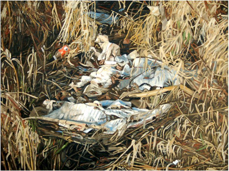 "Nest. Oil on canvas. 30"" x 40""."
