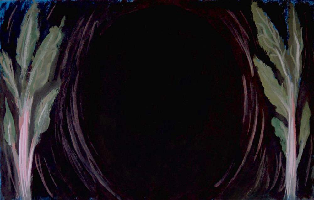 """Study for Abyss. Gauche on black printmaking paper. Apx 16"""" x 30""""."""