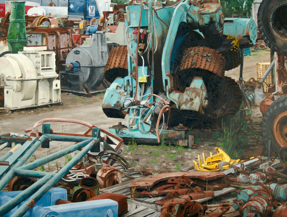 "Logging Equipment. Oil on canvas. 30"" x 40"". (Private Collection)."