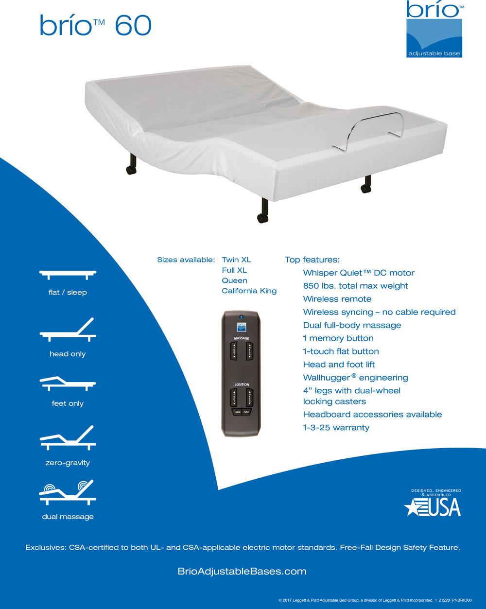 Gold Bond Brio 60 Adjustable Bed