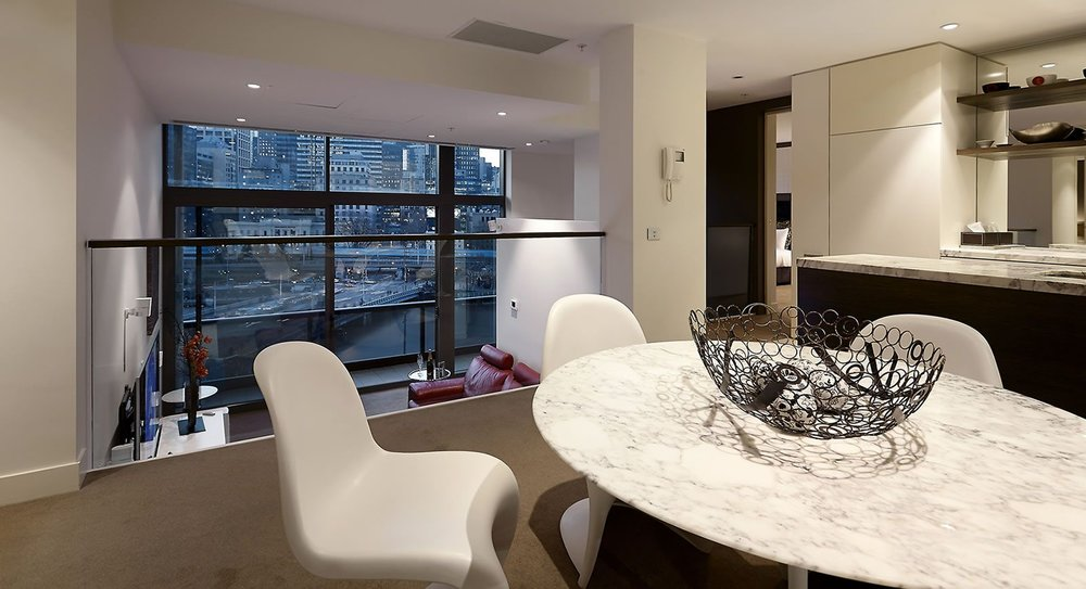 1 Freshwater place kitchen & dining, overlooking lounge area and that view!