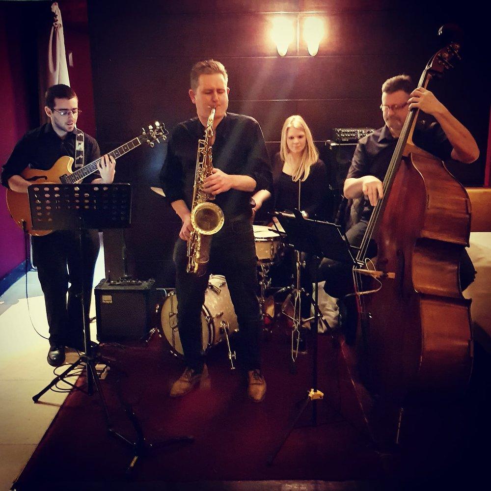 RMD Jazz Collective  Stephen McClenaghan (guitar), Dave Howell (saxophone), RM Drums. Ken Murphy (bass)  Belfast 2018