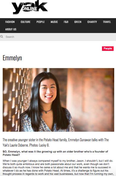 The Yak Magazine, Interview with Emmelyn Gunawan - August 2016.   https://www.theyakmag.com/emmelyn/