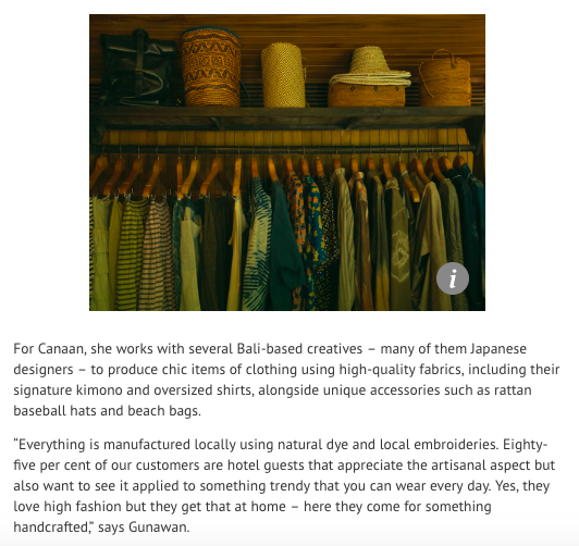 """South China Morning Post (SCMP) """"Luxury resort boutiques from Mexico to Amalfi Coast and Bali let travellers shop without leaving their hotel."""" 2018.   https://www.scmp.com/lifestyle/fashion-beauty/article/2157131/luxury-resort-boutiques-mexico-amalfi-coast-and-bali-let"""