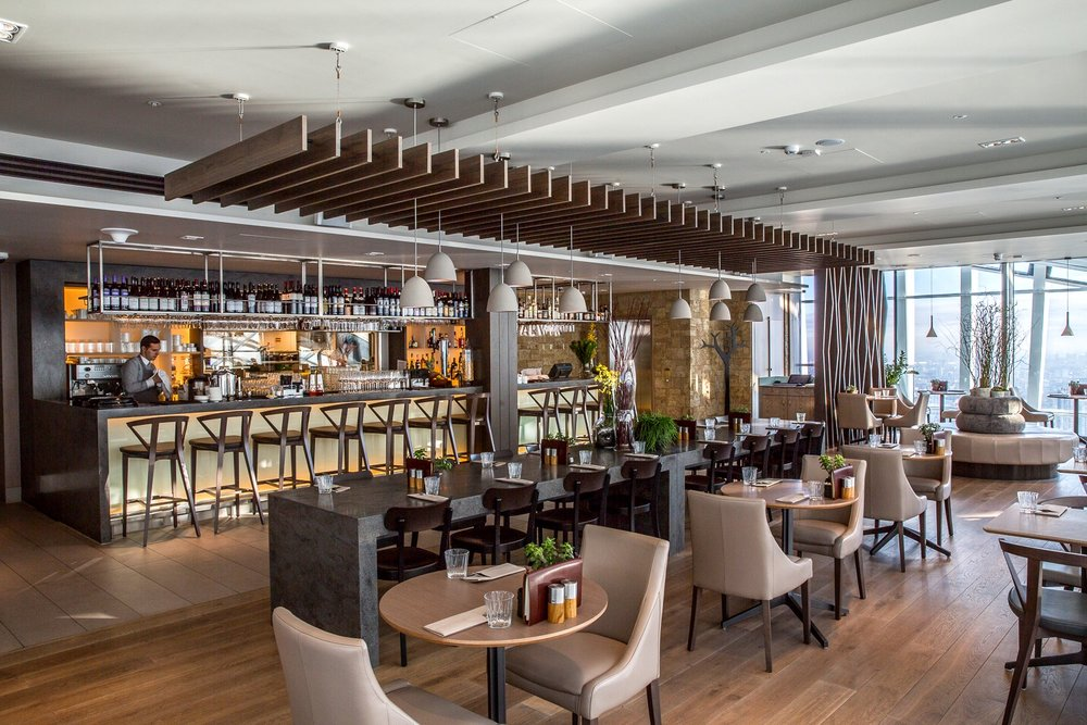 Darwin Brasserie   Named after the Botanist Charles Darwin to compliment the Sky Garden experience, The Darwin Brasserie is an all-day restaurant with a relaxed, informal atmosphere.