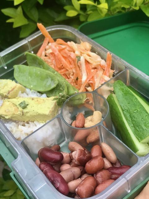 Rice + tofu, carrot + cabbage coleslaw, 4 bean mix, cucumber + nut mix. -