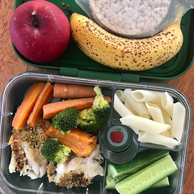 white fish, roast veggies, pasta, cucumber, banana, apple, rice cakes -