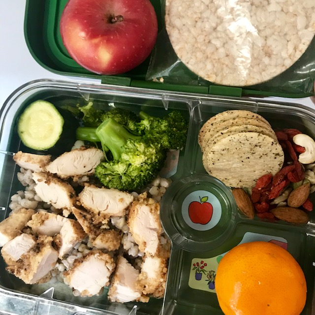 buckwheat, chicken, steamed greems, mandy, rice crackers, nut & seed mix, apple, rice cakes. -