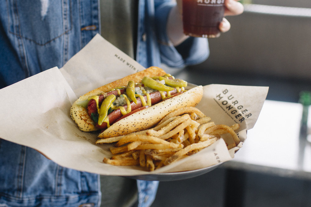 Chicago dog - Neon Relish, Sliced Tomato, Diced Onion, Mustard, Pickle Spears Sport Peppers & Celery Salt $4.99*Fries Additional Cost.