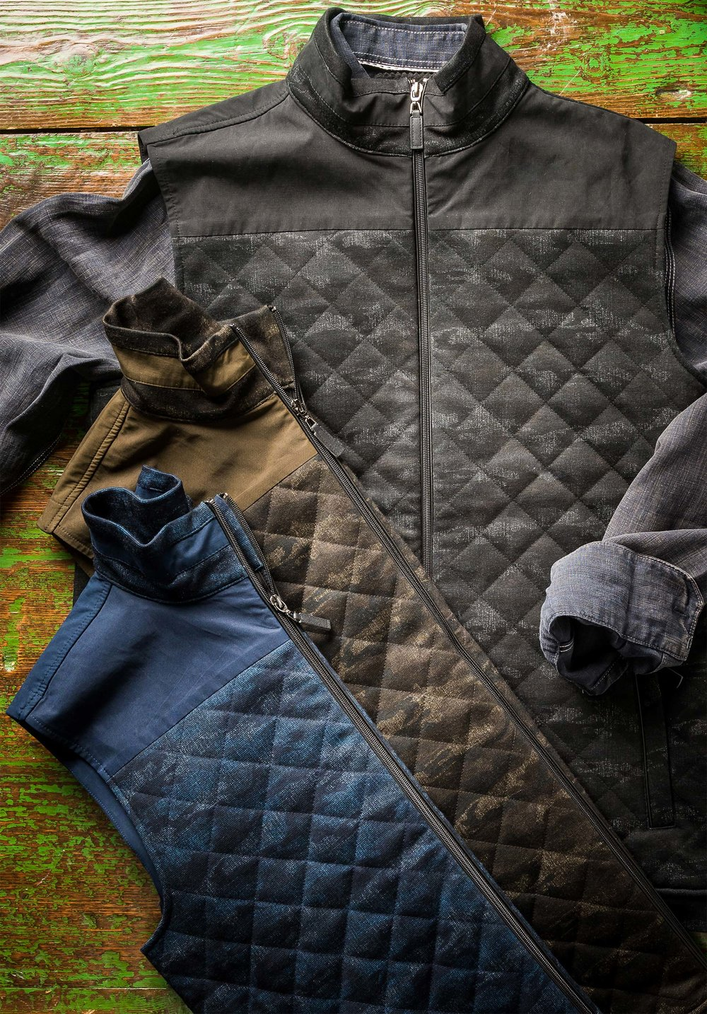 CAMO QUILTED VEST WITH SUEDE TRIM