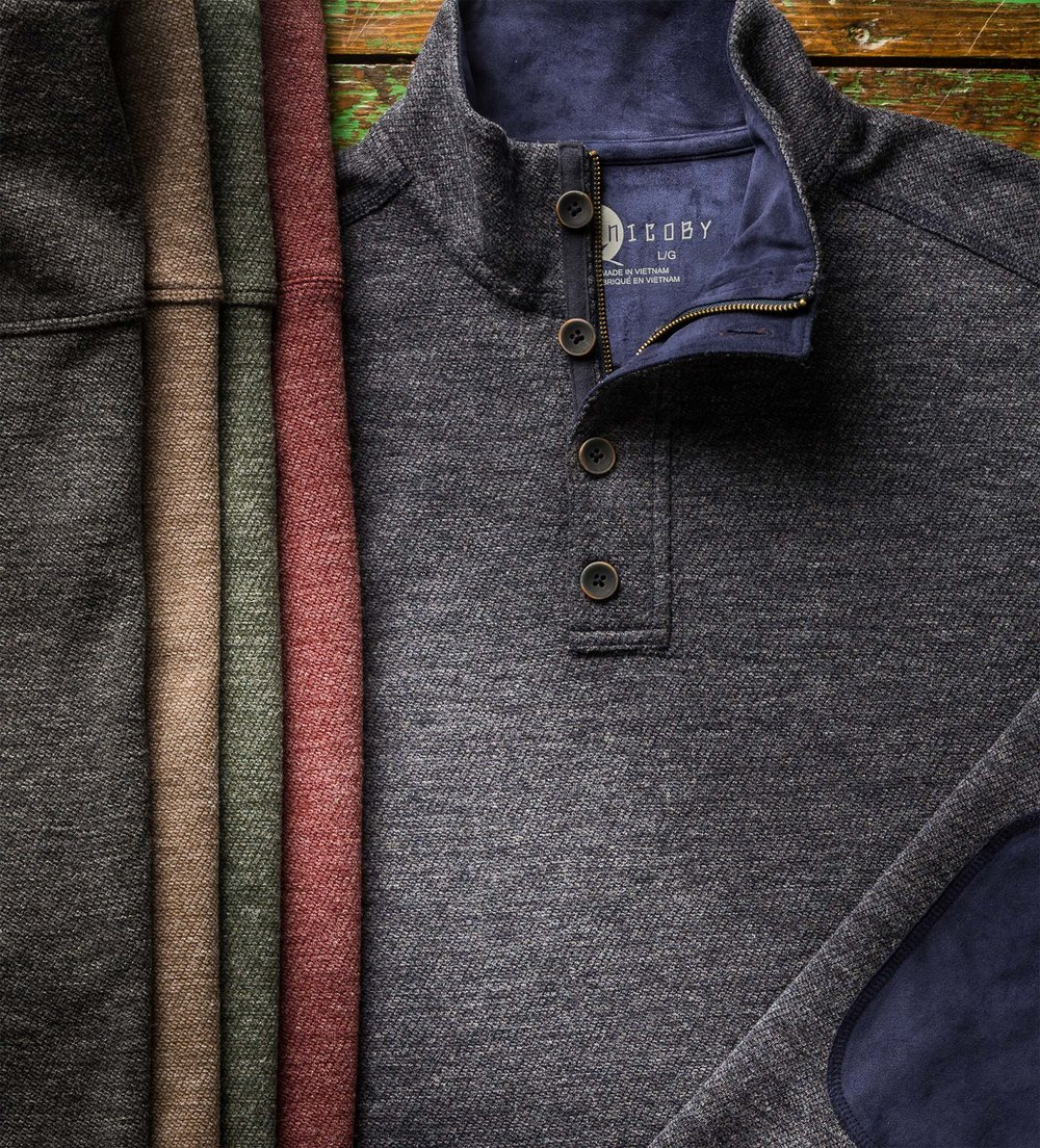 TEXTURED 4BUTTON WITH SUEDE TRIM