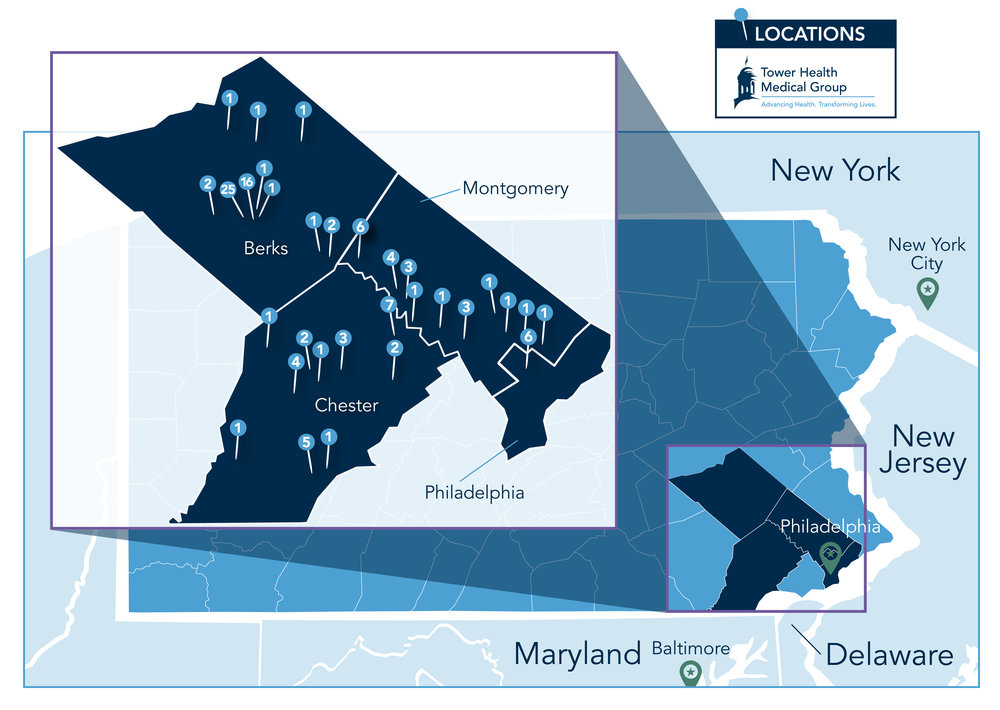 The numeric value located on each pin represents the number of Tower Health Medical Group facilities within that area. Click on the map to enlarge.
