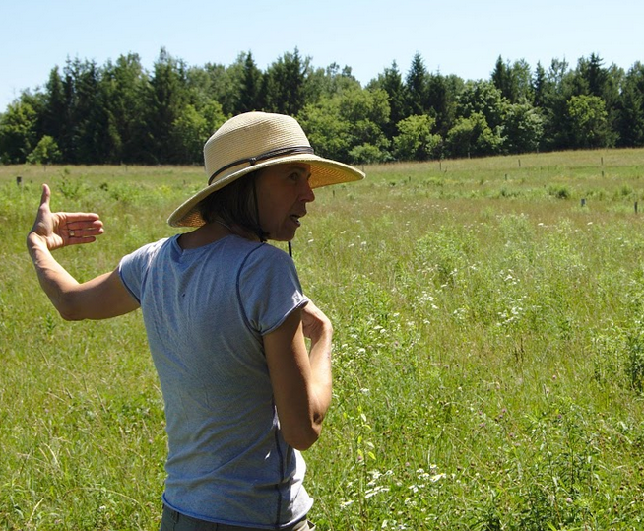Val describes permaculture principles practiced at Heartwood