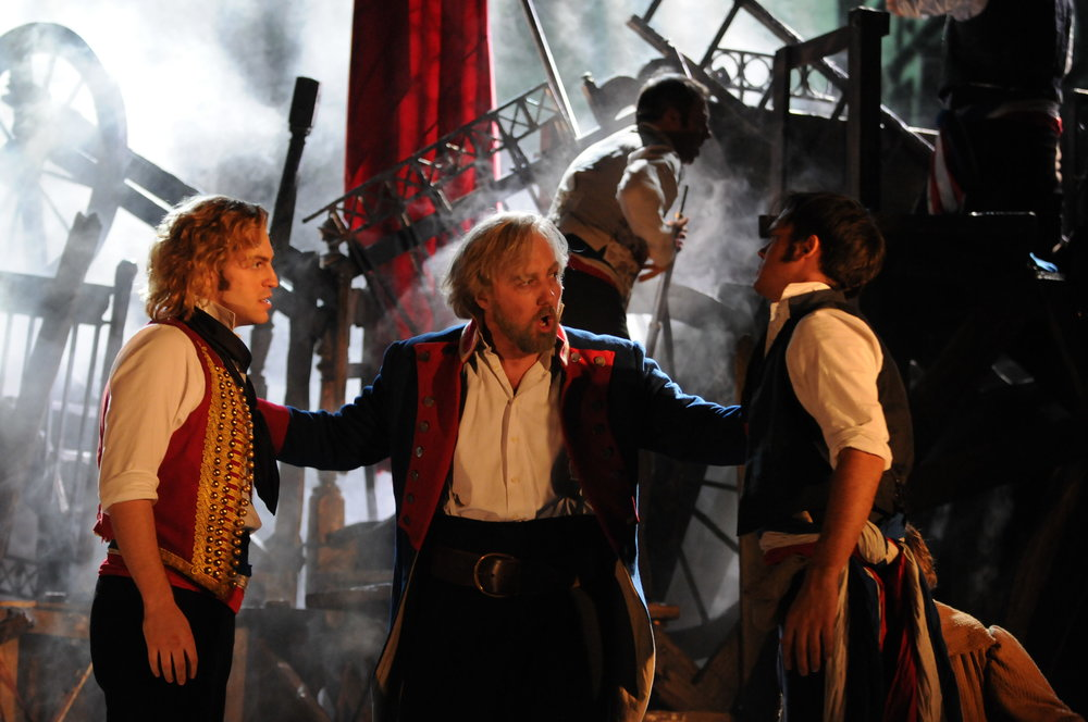 3. Jon ROBYNS (Enjolras), John OWEN-JONES (Valjean) & Gareth GATES (Marius) - The Barricade - Ref - MIS.UK.TR.09.CC.2097 Photo by Michael Le Poer Trench ©Cameron Mackintosh Ltd. LR.JPG
