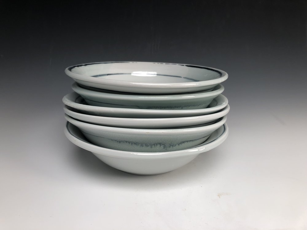9 inch across pasta bowls. Inspired by traditional Italian made pottery used in my family's home. Great for salad too.
