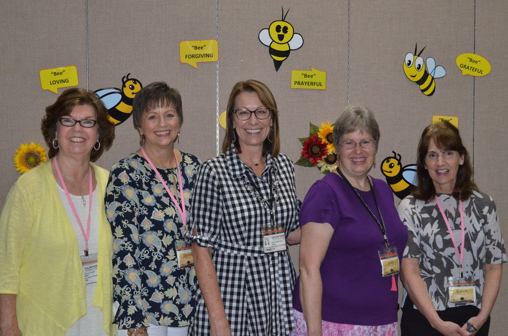 Left to Right: Johnnie Knight, Debbie McCauley, Tammi Patterson (Women's Ministry Director), Judy Huffman, and Karen Dunn