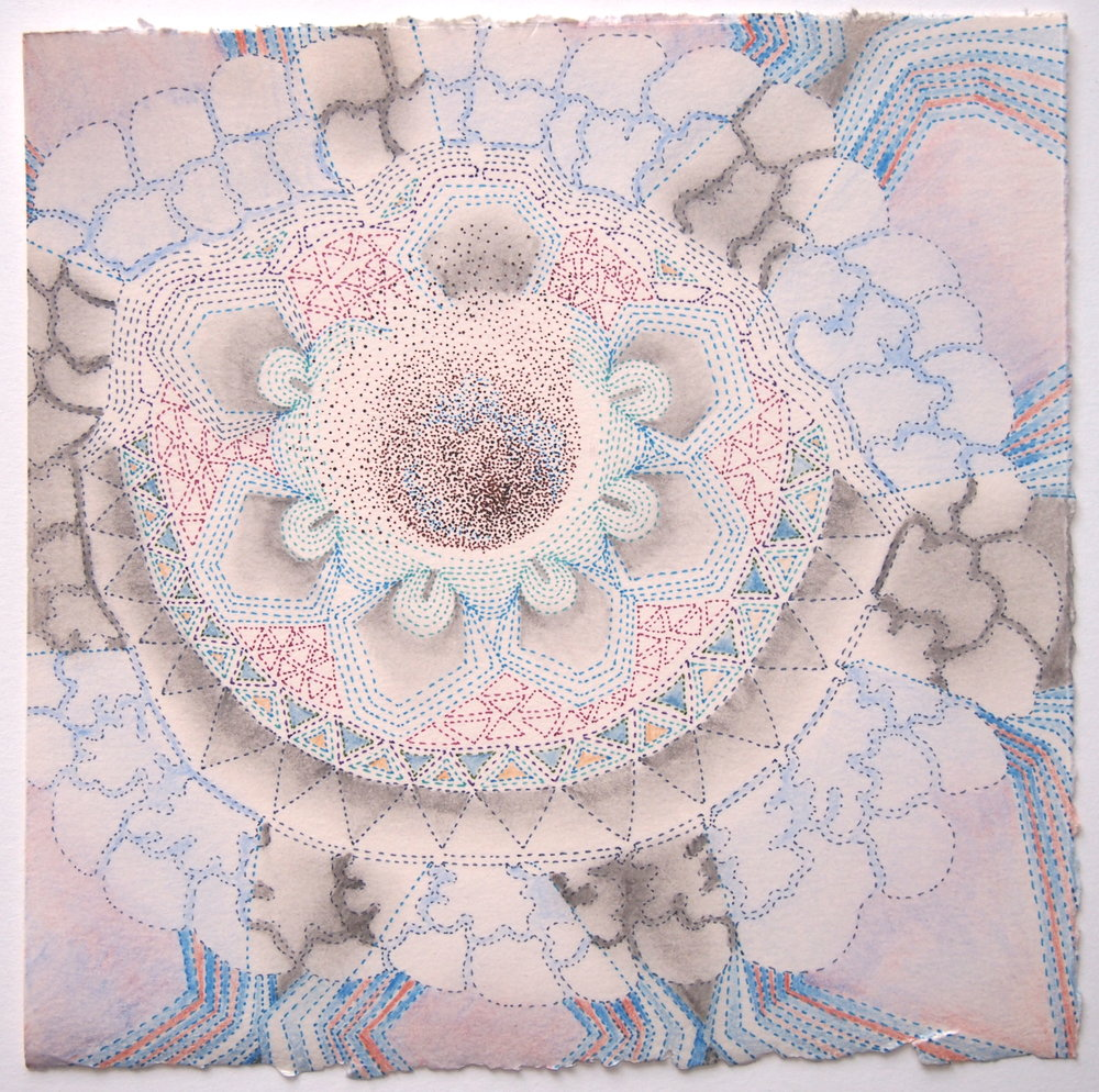 Blue Polypore. Ink, colored pencil and graphite on paper, 7 x 7 inches.