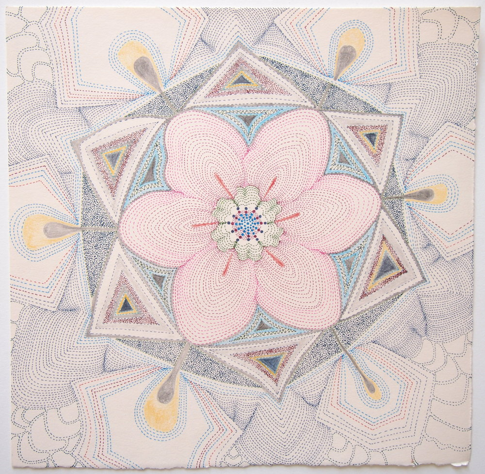 Pink Earth Tonguled, ink, graphite and colored pencil on paper, 10 x 10 inches. 