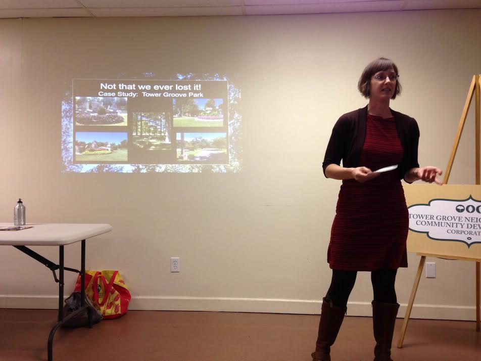 Hannah Reinhart presents at the Neighborhood Beautification seminar in October.