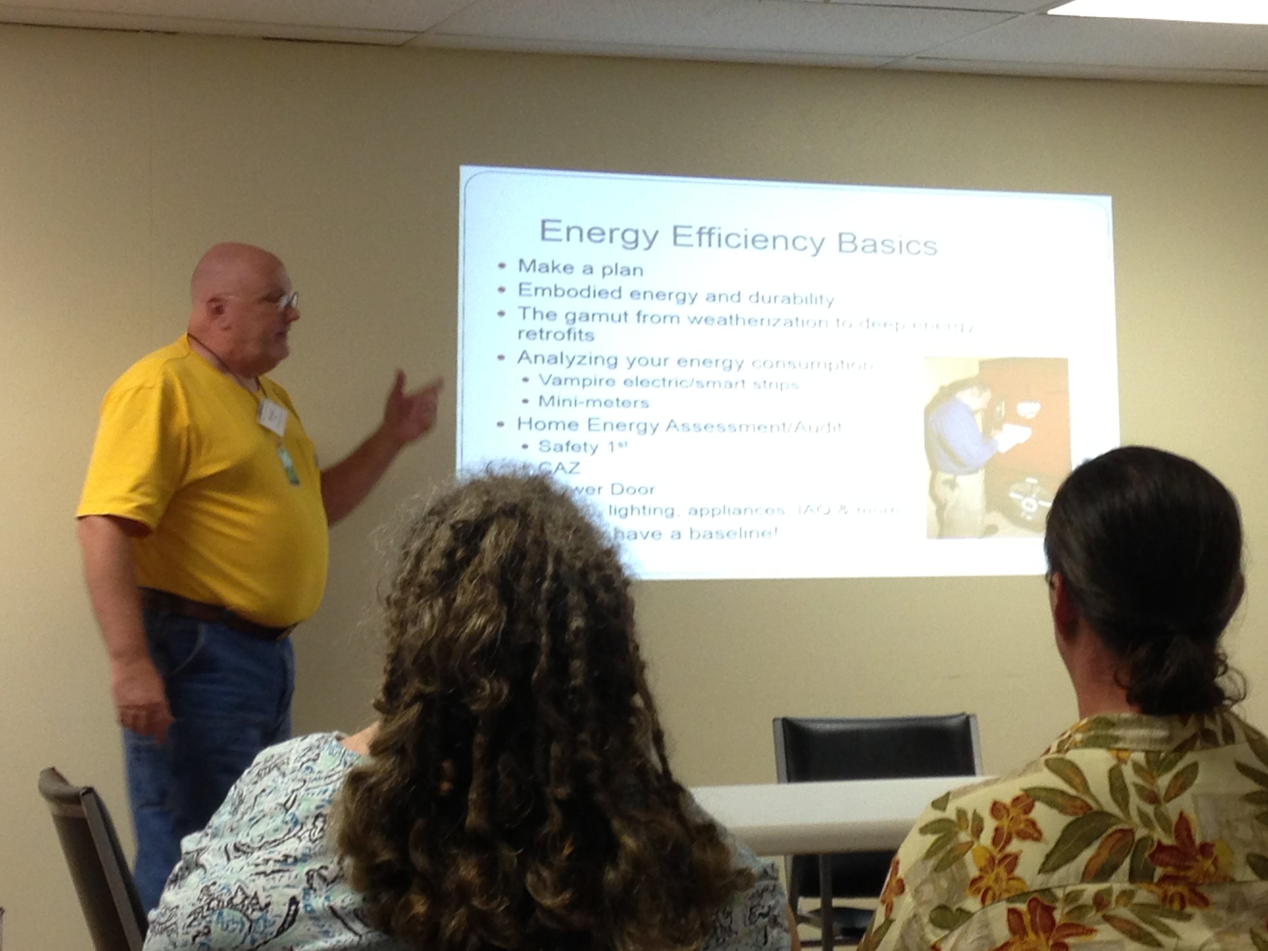 Richard Reilly, from MoBot, presents at the Energy Conservation seminar.