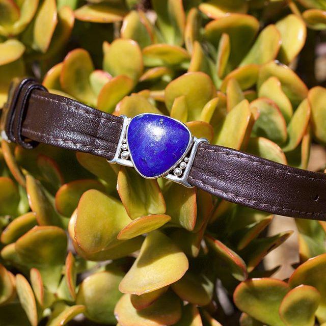 bright desert tones #lapis #southwesternjewelry #leatherbracelet #desertpalette