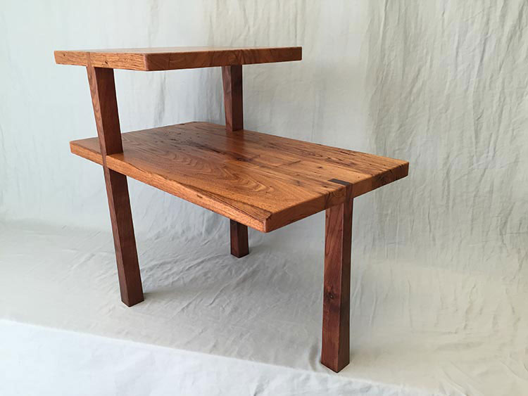 Simple 2-level table, chestnut & walnut.