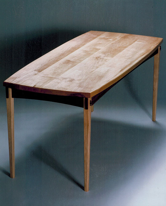 Dining table, maple & walnut.