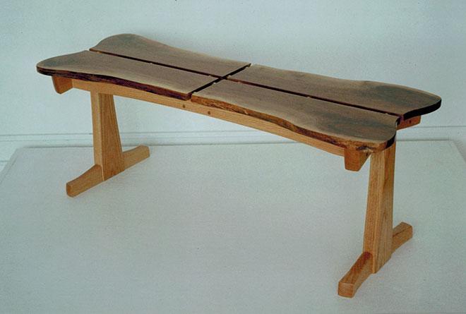 Dog bone table, walnut & oak.