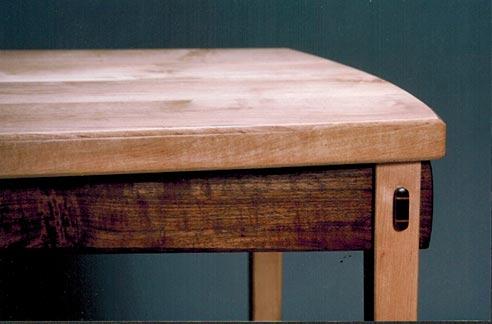 Table detail, maple & walnut.