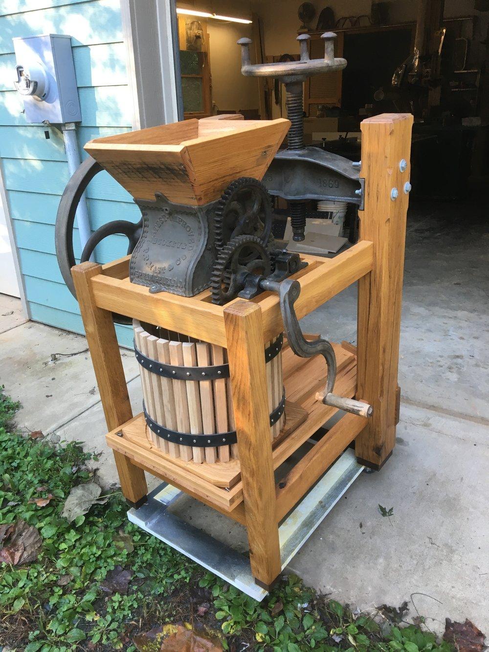 Apple cider press, white oak.