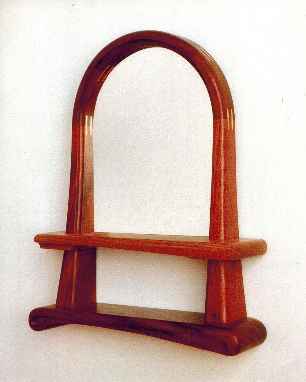 Two-shelf mirror, mahogany & oak.