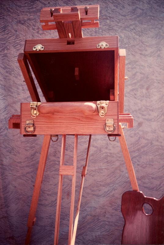 Artist's folding easel, oak & mahogany.