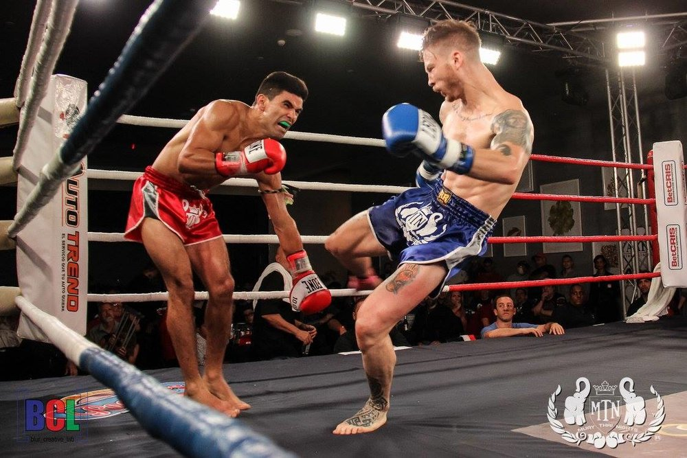 Joe landing a leg kick during a bout in Panama City, Panama. Joe would go on to TKO his opponent due to leg kicks.
