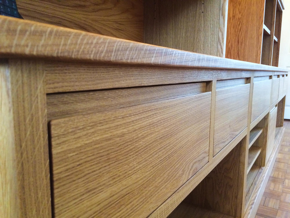 Oak television and stereo unit making a feature of some quarter sawn oak.