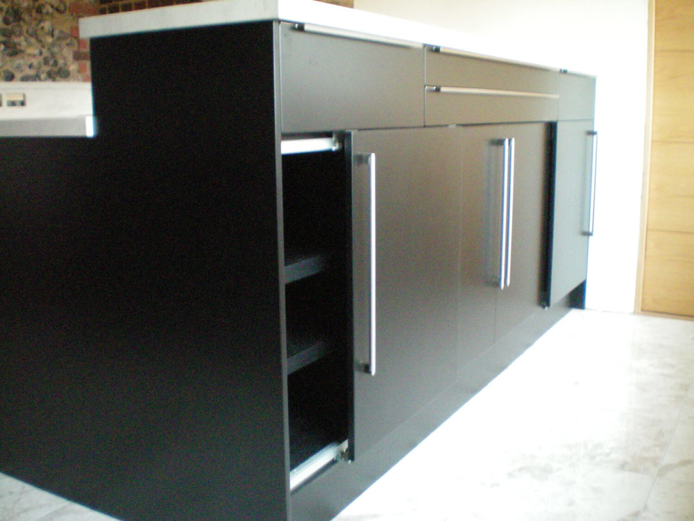 Contemporary Kitchen with Sliding doors