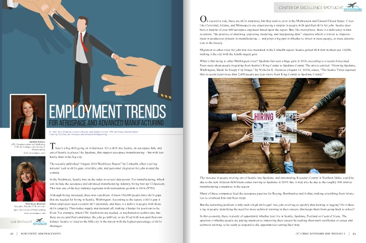 Employment Trends For Aerospace and Advanced Manufacturing - An article, submitted by the Center of Excellence for Aerospace, was published in Northwest Aerospace News Magazine in October 2018.