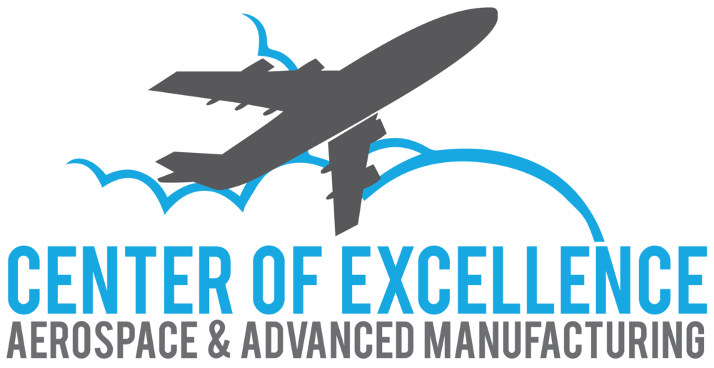 Logo of a commercial aircraft above clouds on top of Center of Excellence Aerospace & Advanced Manufacturing