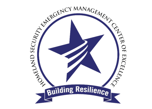 "The words, ""Homeland Security Emergency Management Center of Excellence"" around a circle containing a star with three ascending lines. Beneath a banner, ""Building resilience"""